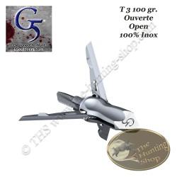 G5 T3 Pointe de chasse mécanique trilame 100 grains