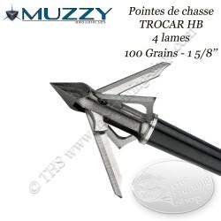 MUZZY Trocar HB Hybride Pointes de chasse à 2 lames fixes et 2 lames mobiles 100 grains - Ouverte