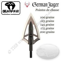 BEARPAW GERMAN JAGER Pointes de chasse bilames fixes