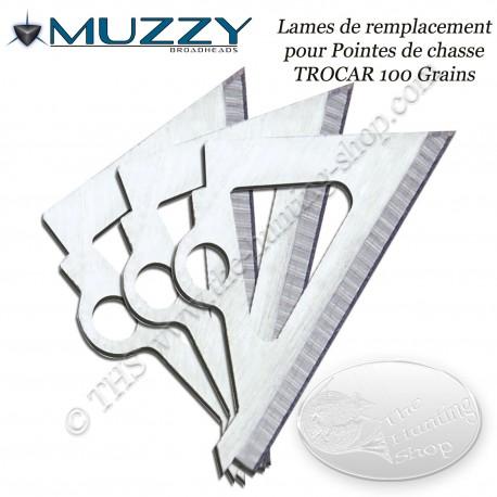 MUZZY Trocar Lames de remplacement pour 3 pointes de chasse trilame 100 grains
