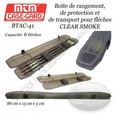 MTM Case-Gard BTAC-41 Boîte à flèches TRAVELER CLEAR SMOKE pour le transport et le rangement de 6 flèches
