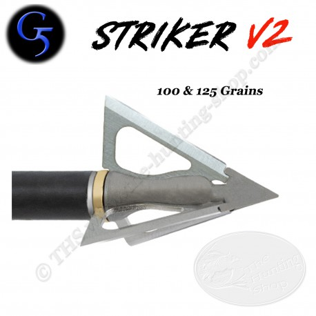 G5 Striker V2 Pointe de chasse à lames fixes trilame 1,25 pouce de diamètre de coupe