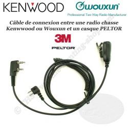 KENWOOD - WOUXUN cordon radio chasse avec micro pour casque antibruit PELTOR