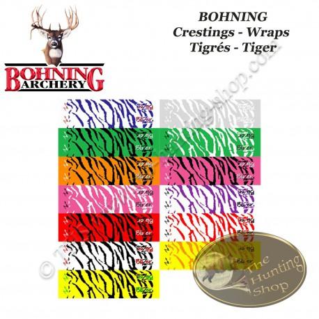 BOHNING Blazer Tiger Arrow Wraps 4  ou 7 pouces autocollants tigrés de type cresting pour flèches  - Assortiment de couleurs