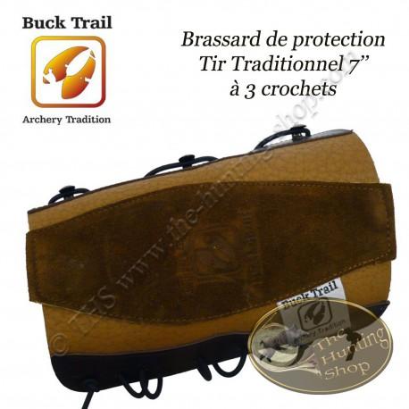 BUCK TRAIL Brassard de protection, protège-bras en cuir 7'' à 3 crochets