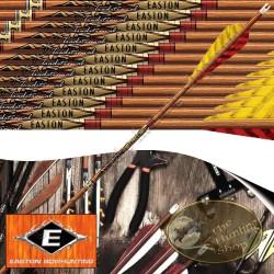 EASTON Axis Traditional Flèches de chasse et tir 3D en carbone imitation bois empennées avec plumes naturelles