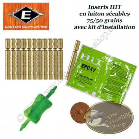 EASTON Inserts HIT lourds en laiton sécables 75-50 grains pour tubes et flèches  Axis 12 Pack avec kit d'installation