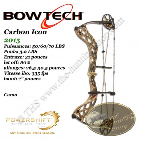 BOWTECH Carbon Icon Arc compound à poulies pour la chasse et le tir 3D Mossy Oak Country Camo