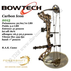 BOWTECH Carbon Icon Arc compound à poulies en kit RAK pour la chasse et le tir 3D Mossy Oak Country Camo