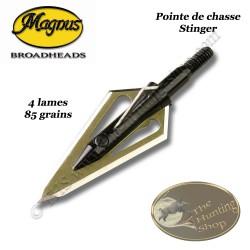 MAGNUS Stinger 4 Lames Pointes de chasse bilames fixes en acier inox avec bleeder 85 grains