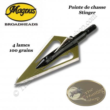 MAGNUS Stinger 4 Lames Pointes de chasse bilames fixes en acier inox avec bleeder 100 grains