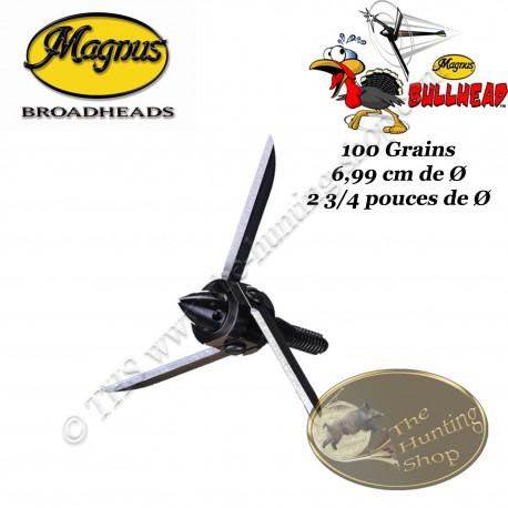 MAGNUS Bullhead 3 Lames Pointes de chasse grand diamètre spéciales pour dindons, oies et tir en vol - 100 grains
