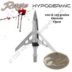 RAGE Hypodermic Pointe de chasse mécanique bilame en acier inox 100 & 125 grains
