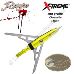 RAGE X-Treme Pointe de chasse mécanique bilame 100 grains ouverte