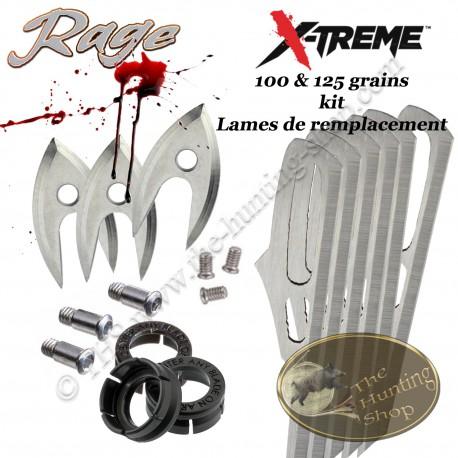 RAGE X-Treme Blades Kit de Lames de remplacement pour 3 pointes de chasse X-Treme 100 & 125 grains