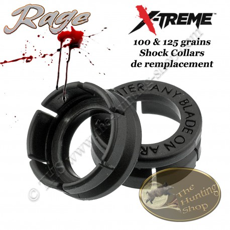 RAGE X-Treme Shock Collars Système de rétension de lames pour pointes de chasse Rage 100 & 125 grains