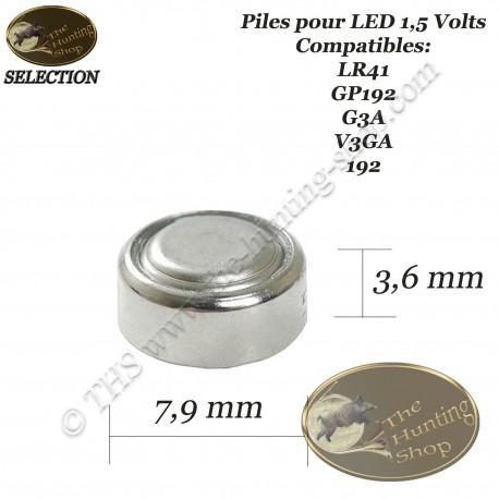 THS SELECTION Piles alcalines pour LED de viseur d'arc LR41 1.5 volts