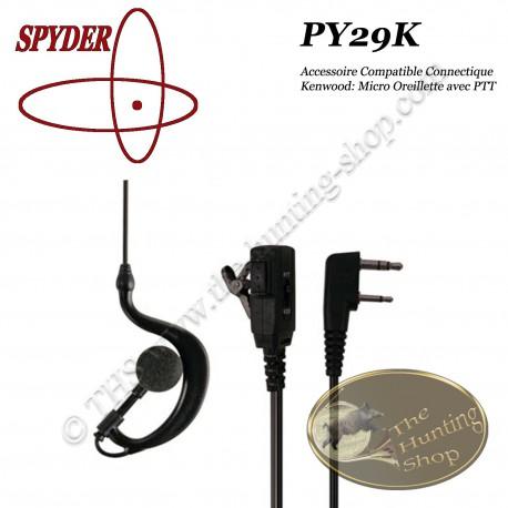 SPYDER Micro Oreillette compatible pour radios talkie walkie de chasse à connectique KENWOOD