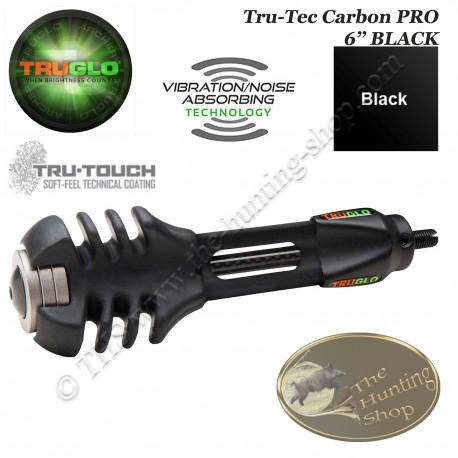 """TRUGLO TRU-TEC Carbon PRO Stabilisateur d'arc de chasse anti vibrations et anti bruit - 6"""" pouces NOIR - BLACK"""