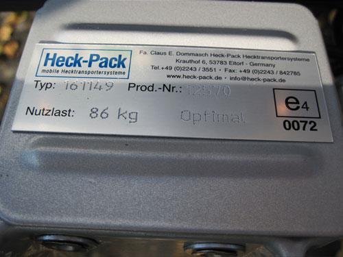 Homologation routière des paniers porte gibier Heck-Pack