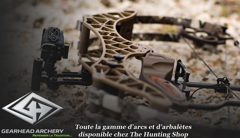 Toute la gamme d'arcs et d'arbalètes Gearhead Archery disponible chez The Hunting Shop