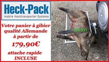 Votre panier à gibier qualité Allemande HECK-PACK à partir de 179,90€ attache rapide INCLUSE ici...